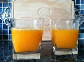 2 glasses of OJ from our tree