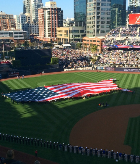 US flag on the field