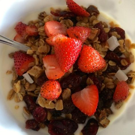 homemade granola and strawberries