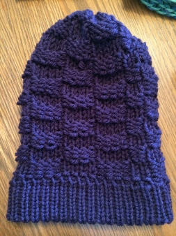 purple, basket weave hat