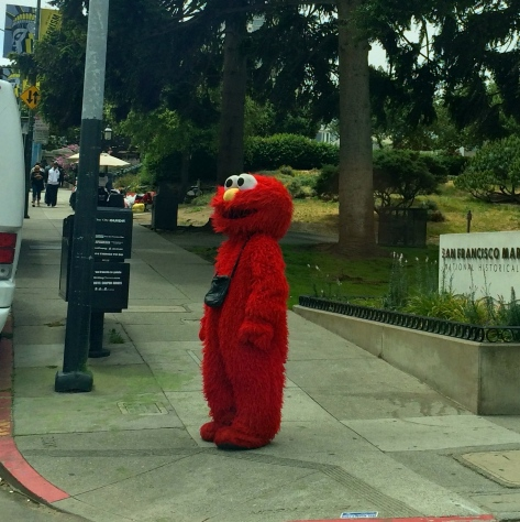 Elmo on the corner