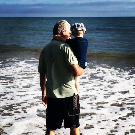 Grandpa & R at the beach