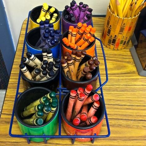 a collection of crayons