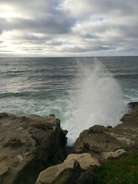 waves crash at La Jolla Cove